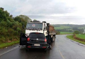 Colisão auto x caminhão tira a vida de um policial rodoviário, em Palmeira