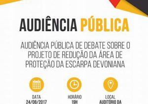 Audiência Pública sobre EscarpaDevoniana acontece nesta quinta-feira