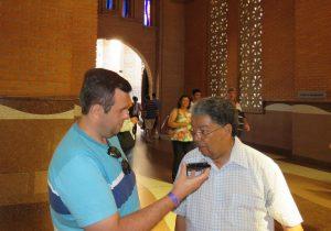 Em visita à Aparecida um encontro com o Padre Geraldo que foi Pároco em Palmeira na década de 70