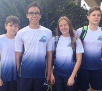 Os atletas Idely Krinert de Camargo, João Carlos Cherubim, João Vicente Kochinski e Luigi Maciel