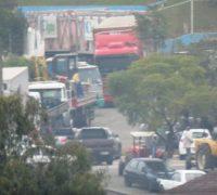Concentração de caminhoneiros na PR 151, em Palmeira.