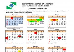 Secretaria de Educação define calendário escolar de 2019