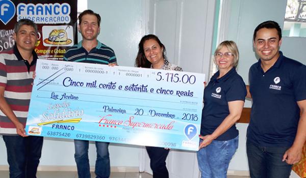 Franco repassa mais de R$ 5 mil para o Lar Acelino
