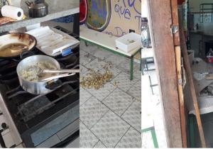Vândalos arrombam porta de escola e consomem alimentos da merenda dos alunos