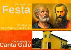 Comunidade de Canta Galo presta homenagem a São Pedro e São Paulo neste domingo (30)