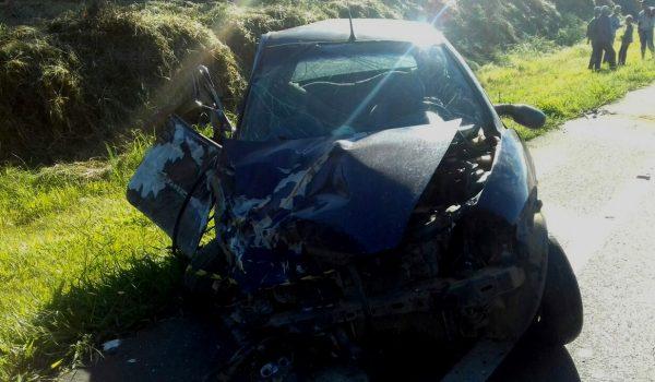 Ford Ka e caminhão colidem frontalmente na BR 277 em Palmeira