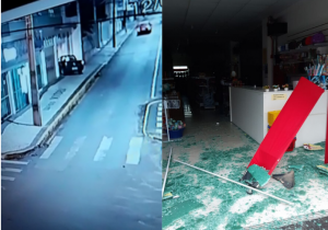 Veículo invade entrada de loja, danifica porta de vidro e foge do local