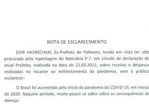 Ex-Prefeito Edir Havrechaki envia nota de esclarecimento para Rádio Ipiranga
