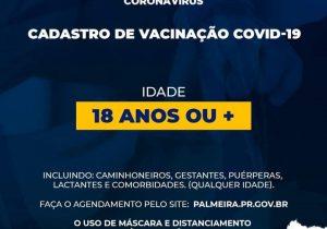 SMS abre cadastro para vacinação contra covid-19 da faixa etária de 18 anos ou +