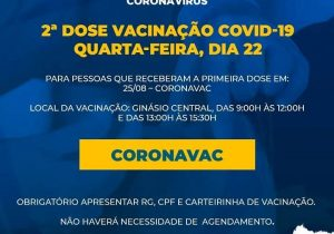 SMS disponibiliza 2º dose de vacina coronavac para vacinados em 25 de agosto